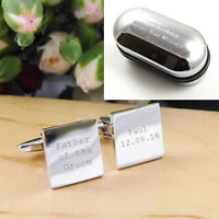 Silver Square Personalised ENGRAVED Father of the Groom Wedding Cufflinks