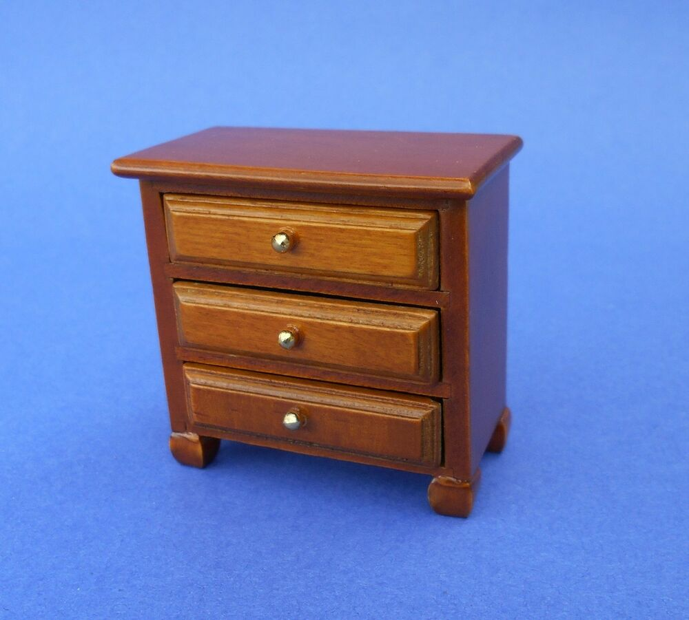 miniature dollhouse nightstand night stand 3 drawer 1 12. Black Bedroom Furniture Sets. Home Design Ideas