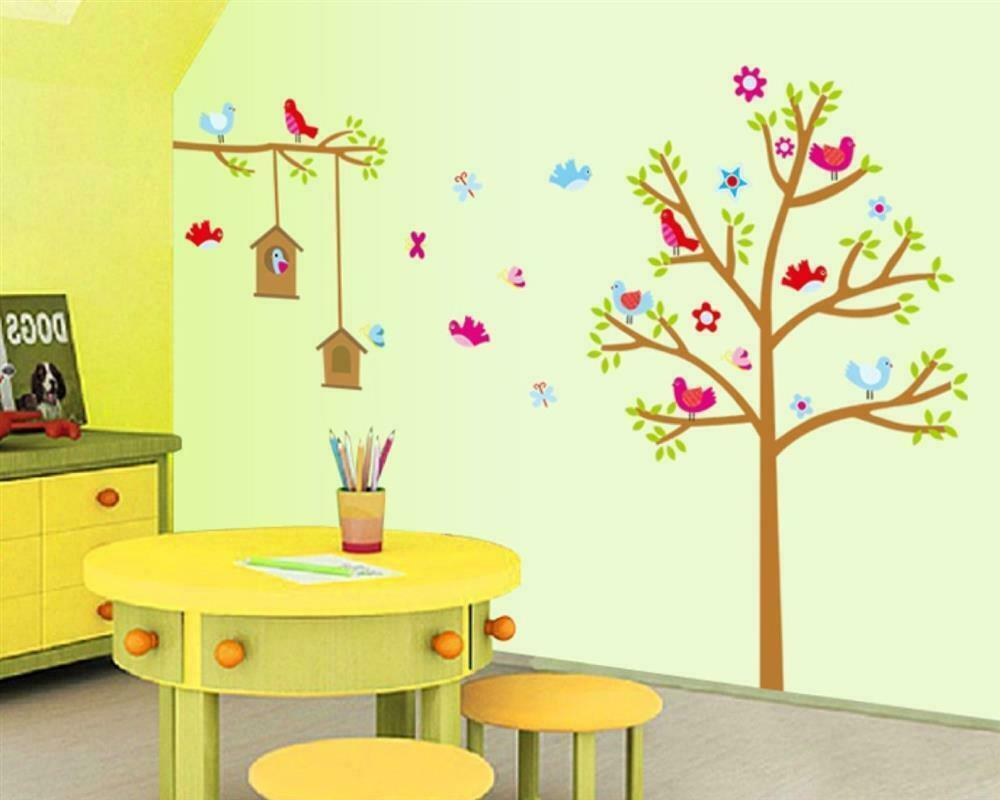 w074 wandtattoo kinderzimmer baum 170x120 gro wald tier wandaufkleber xxl top ebay. Black Bedroom Furniture Sets. Home Design Ideas