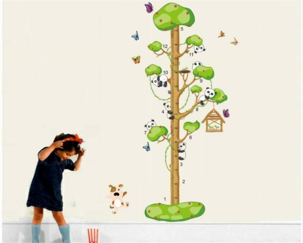wandtattoo wandposter kinderzimmer messlatte baum panda tiere 85 x 160 w055 ebay. Black Bedroom Furniture Sets. Home Design Ideas