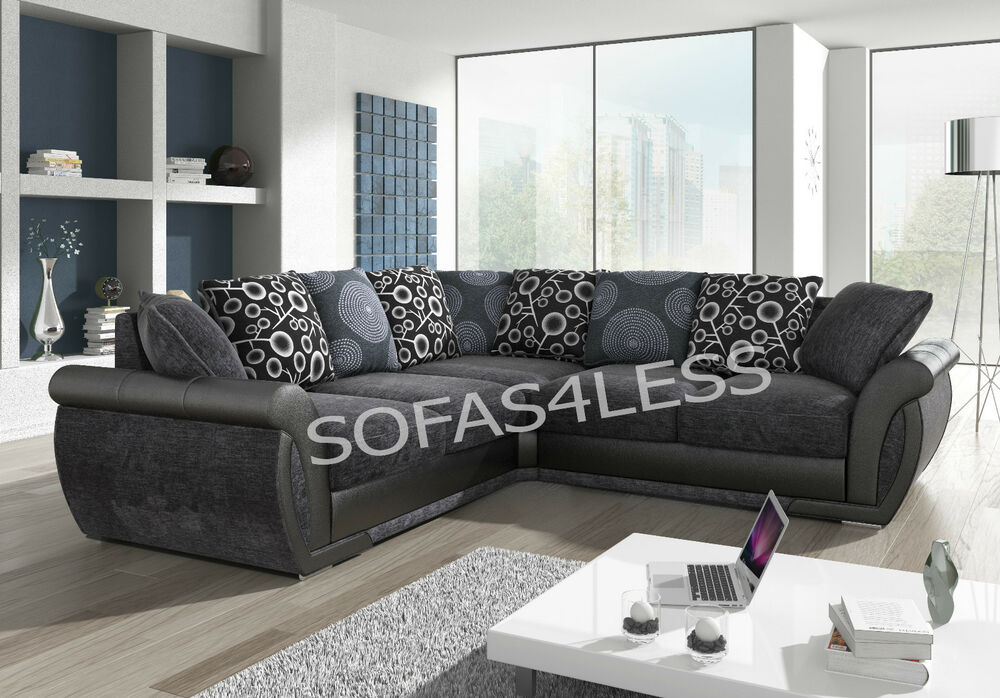 NEW SHANNON LEATHER amp FABRIC CORNER SOFA BLACK GREY