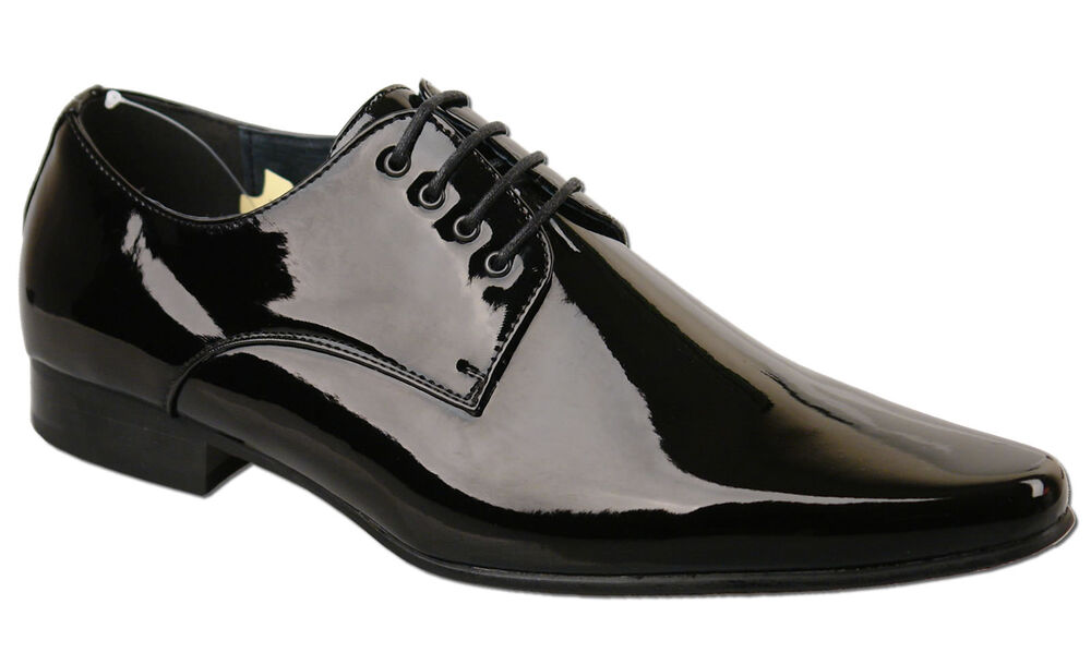 Mens New Black Lace Up Leather Lined Patent Wedding Shoes Size 6 7 8 9 10 11 12