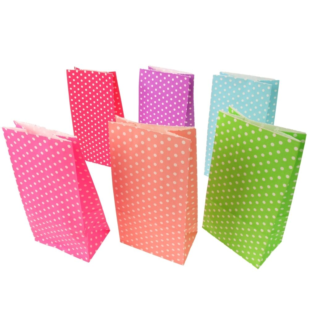 Small polka dot paper sweet craft bags wedding party for Craft paper gift bags