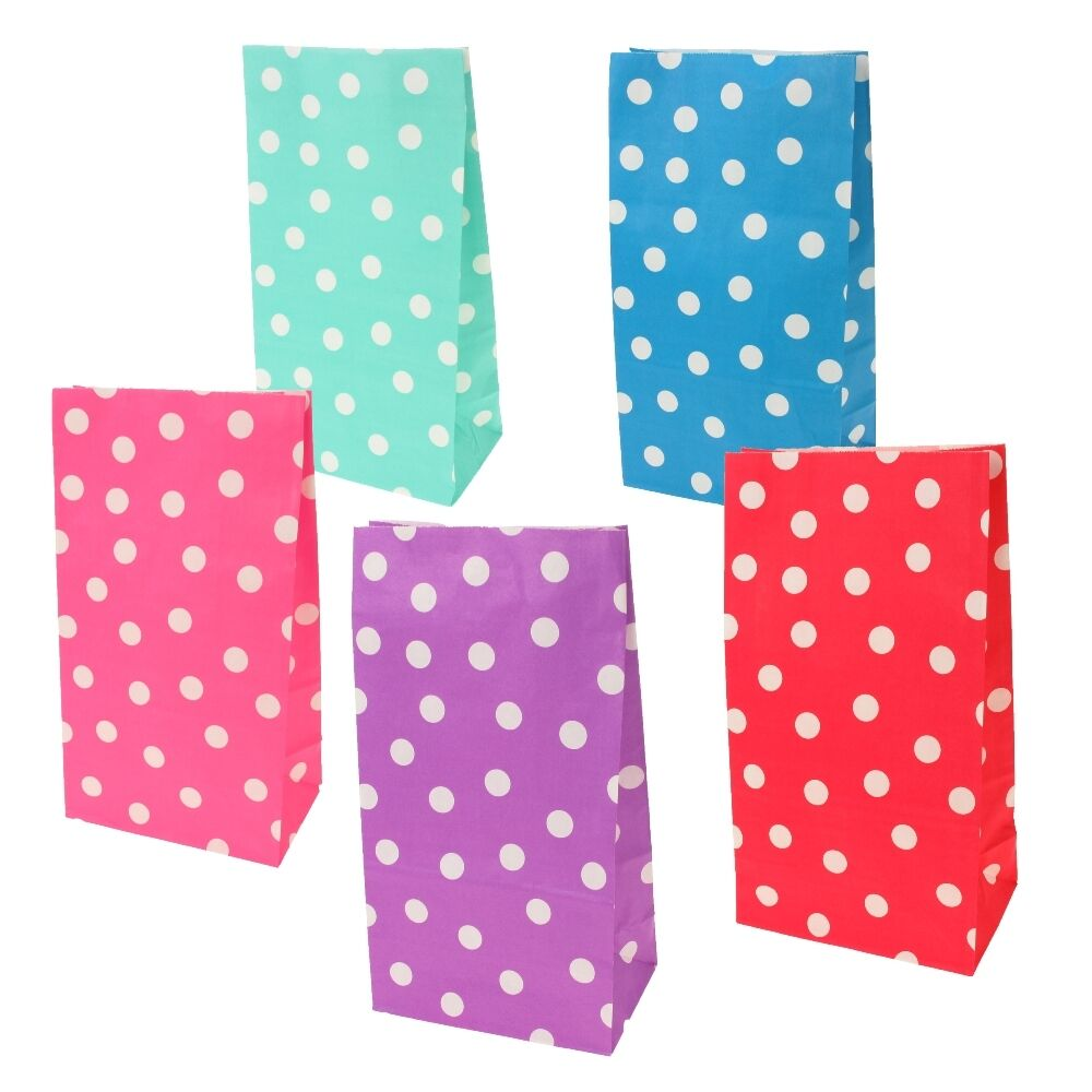 Paper sweets craft bags large polka dots wedding party for Craft paper gift bags
