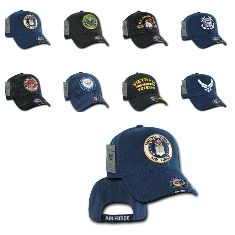 837f25902497c Details about 1 Dozen Shadow Embroidery US Military Vet Army Air Force Navy  Marines Hats Caps