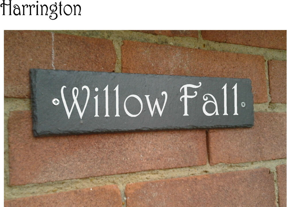 House Number Plaques Slate: Natural Rustic Slate House Gate Sign Plaque Door Number