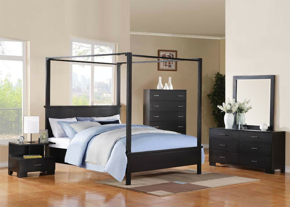 queen size bed set bedroom furniture 4pc bed set in black