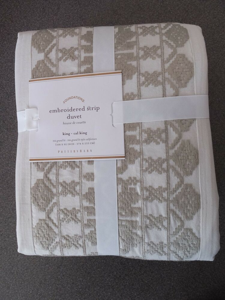 New Rare 3pc Pottery Barn Embroidered Strip King Queen