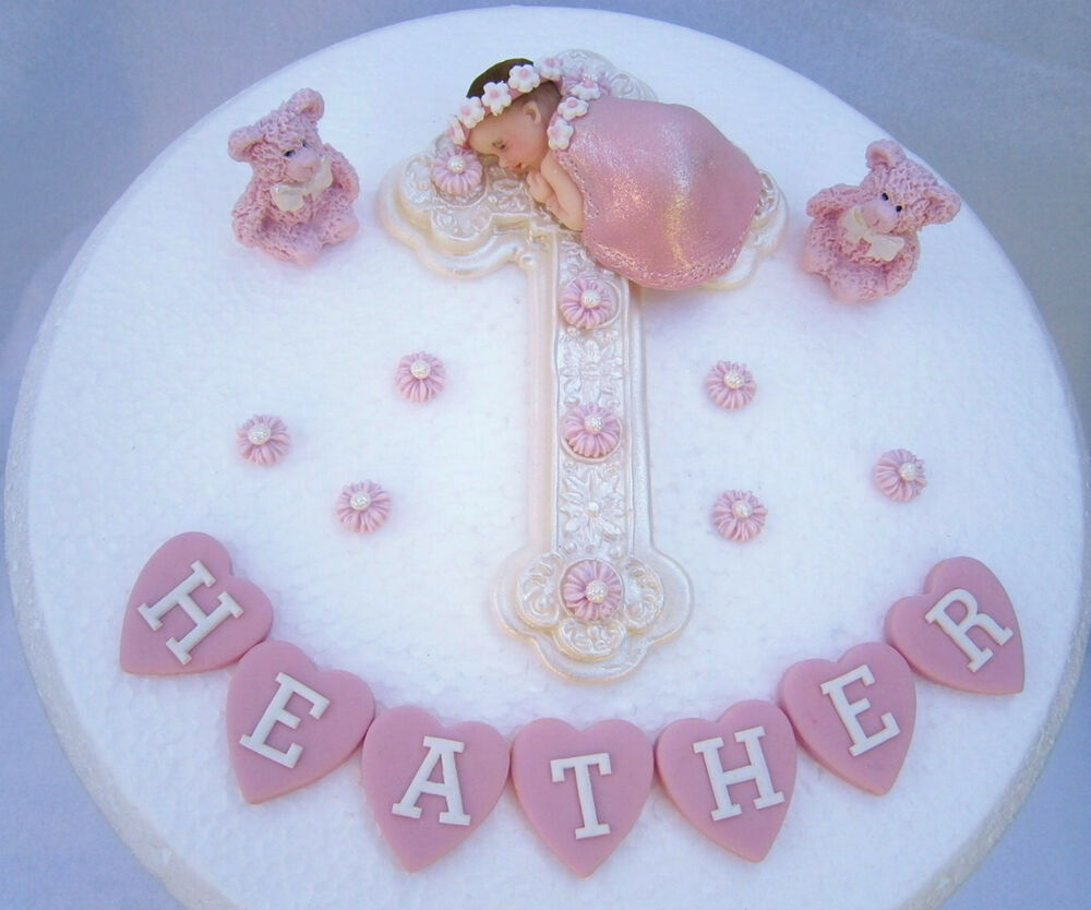 Christening Cake Design For Baby Girl : Edible cross & baby girl Personalised Christening Baptism ...