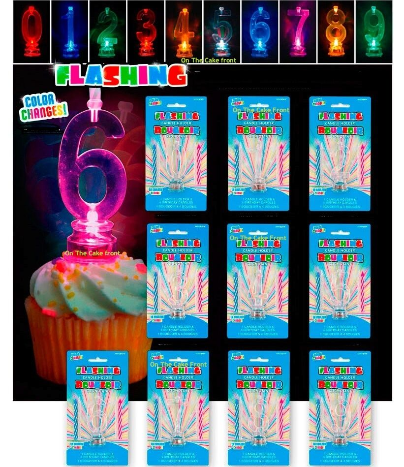 Number Candle FLASHING Holder & 4 Candles Birthday Cake