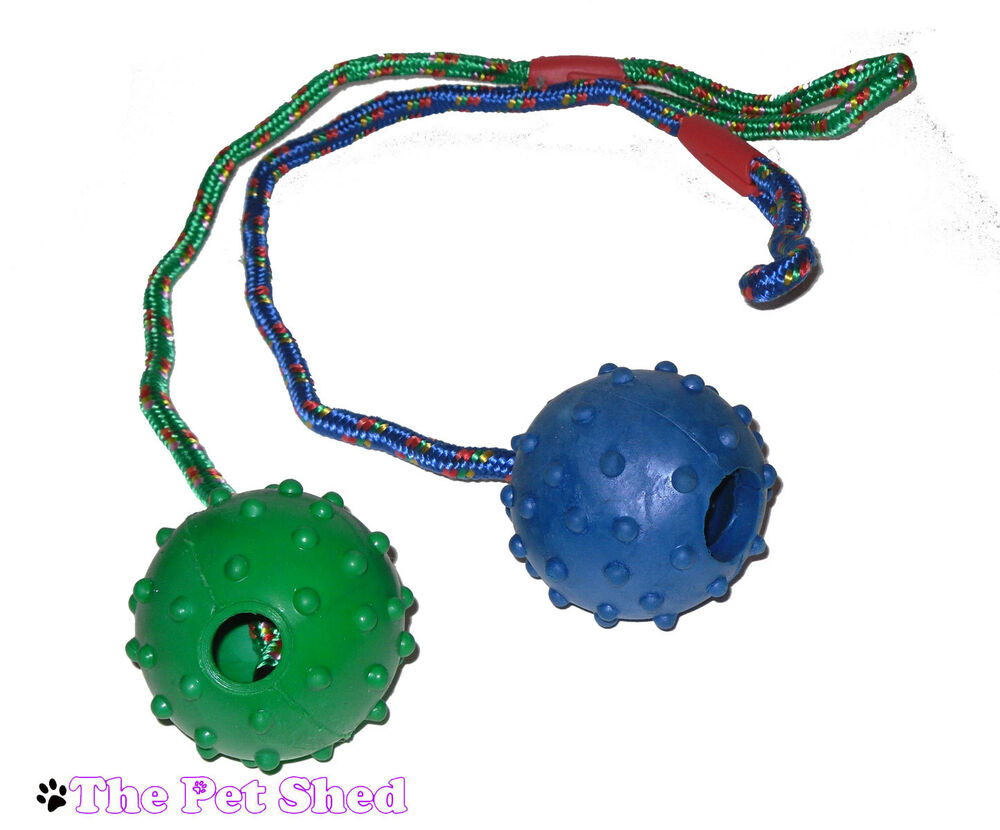 Rubber Ball Dog Toy : Dog puppy pet play throw fetch bite chase rope tugger