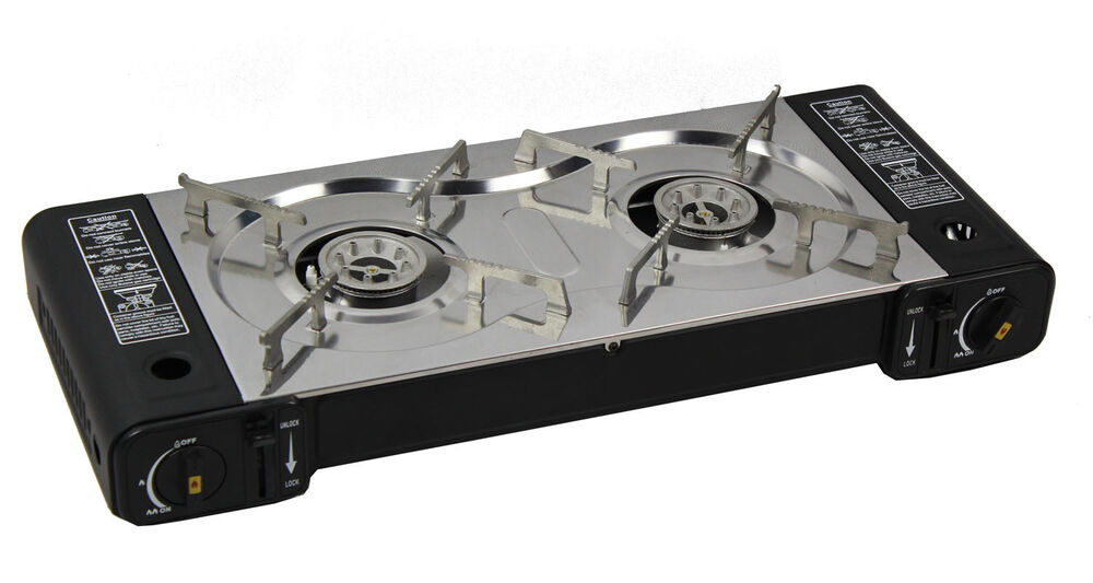 Portable Dual 2 Hob Burner Gas Cooker Stove Stainless