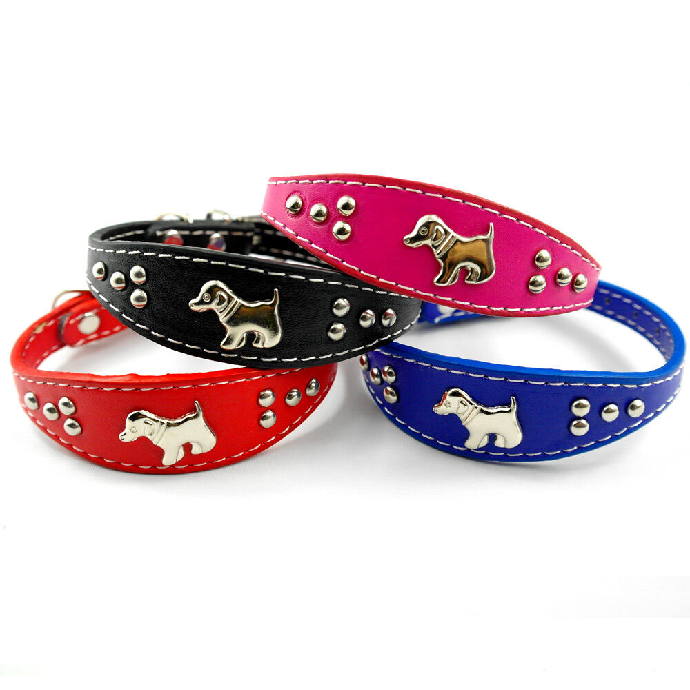 Red Leather Studded Dog Collar