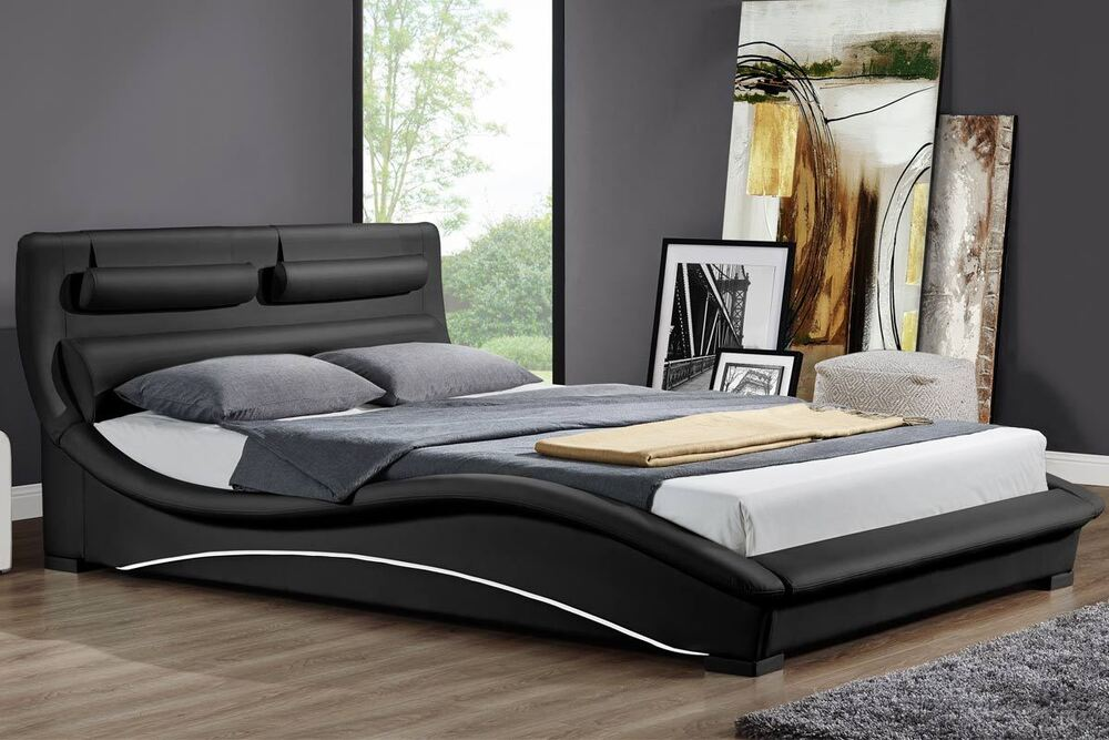 Modern padded headboard designer black white faux leather bed double king size ebay - Bed desine double bed ...