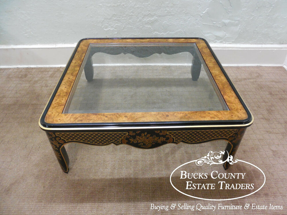 Drexel Heritage Cetera Ebonized Chinoiserie Burl Wood Glass Top Coffee Table Ebay