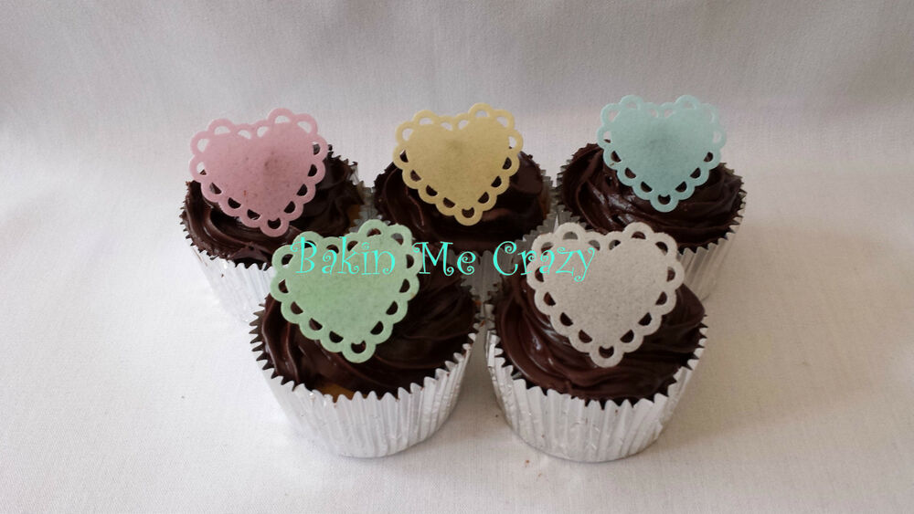 40 Edible Cupcake Topper Heart Lace Cake Decoration Wedding Engagement Rice Pape