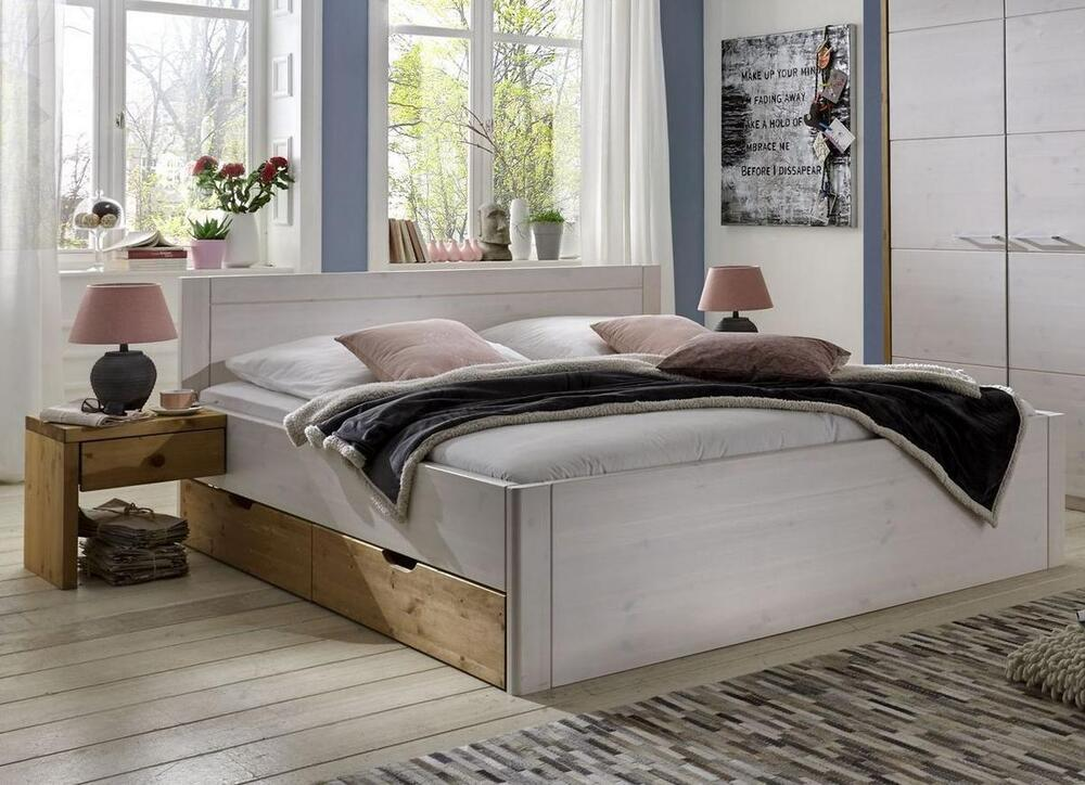 schubladenbett funktionsbett 100x200 kiefer massiv holz wei bett mit schubladen ebay. Black Bedroom Furniture Sets. Home Design Ideas