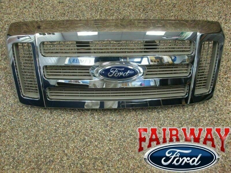 Ford F350 Accessories >> 08 09 10 Super Duty F250 F350 King Ranch OEM Ford Chrome Gold Grill Grille | eBay