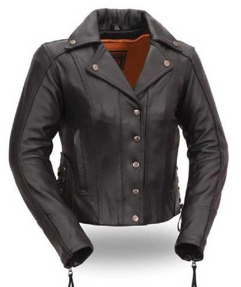 First MFG Women's Updated Motorcycle Black Leather Riding ...