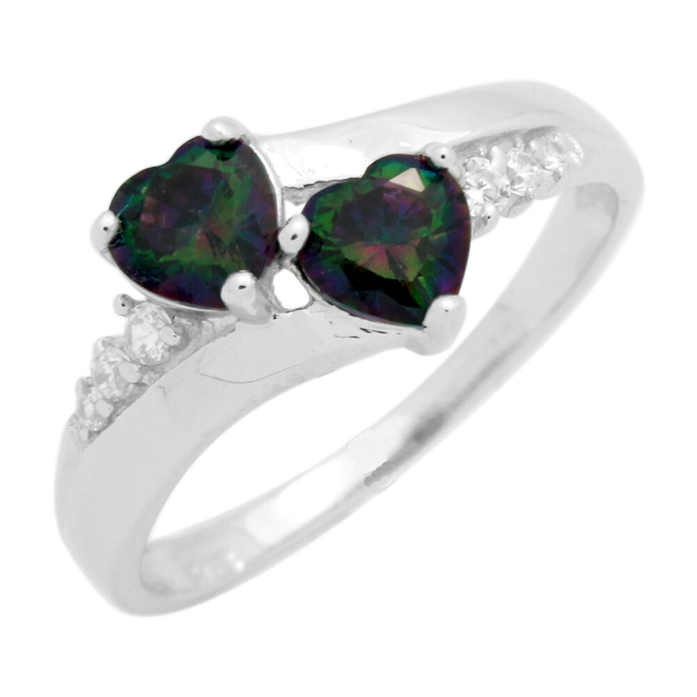 925 Sterling Silver Twin Hearts Synth Mystic Fire Topaz Rainbow Ring Ebay