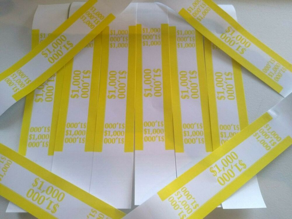 1000 yellow 1000 self sealing currency straps bands ebay. Black Bedroom Furniture Sets. Home Design Ideas