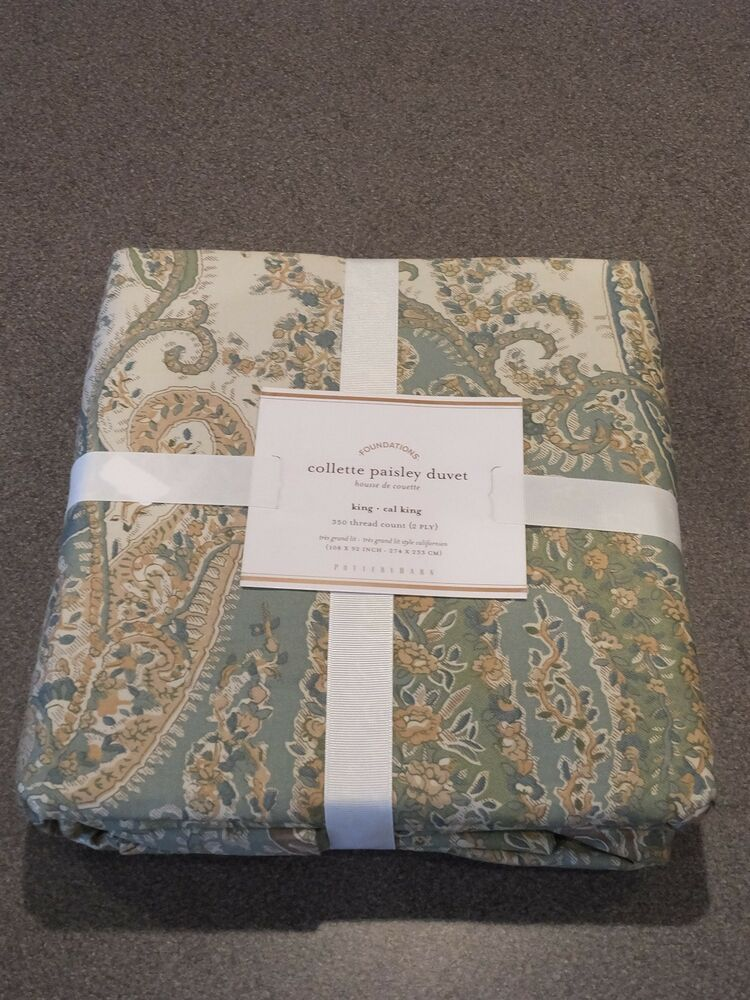 New 3pc Pottery Barn Cool Blue Colette Paisley King Duvet