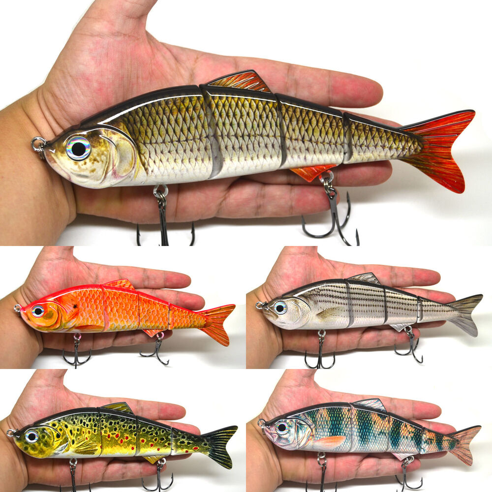 8 multi jointed fishing bait lure swimbait bass pike life for Musky fishing lures