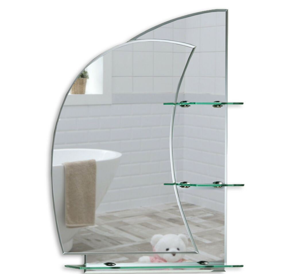 Bathroom mirror with shelves stunning nautical design for Bathroom wall mirrors