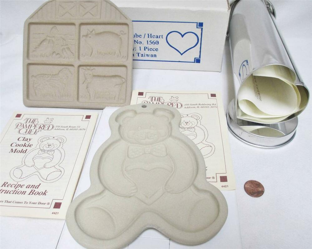 Pampered chef lot farm yard teddy bear cookie molds for 3 piece canape bread molds
