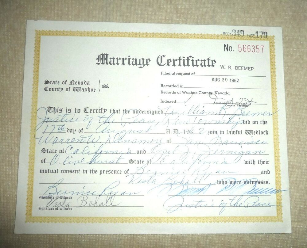 Vintage Marriage Certificate Washoe County Nevada Olivehurst San