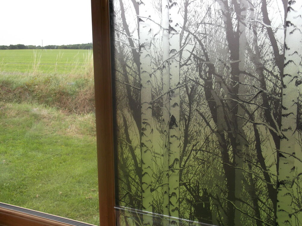 1 5m Privacy Trees Wood Frosted Glass Static Cling Window