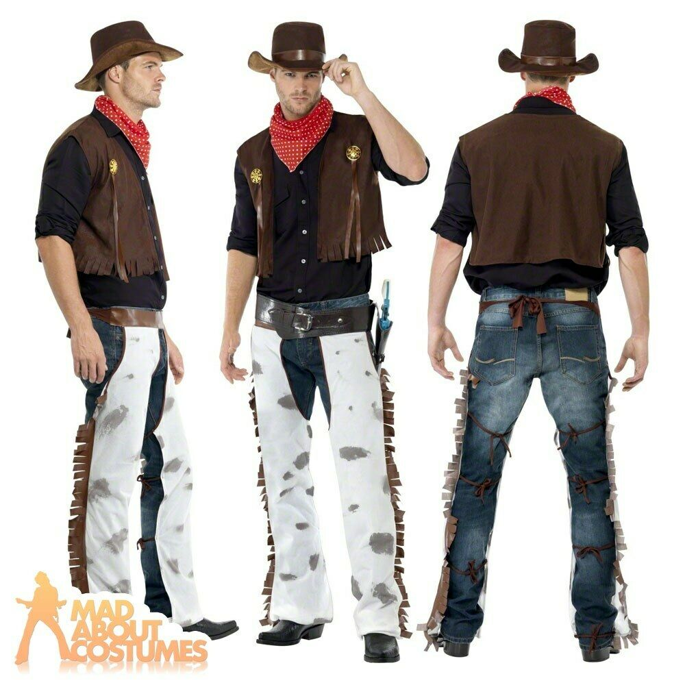 Adult Cowboy Costume Fancy Dress Outfit Mens Male Western ...