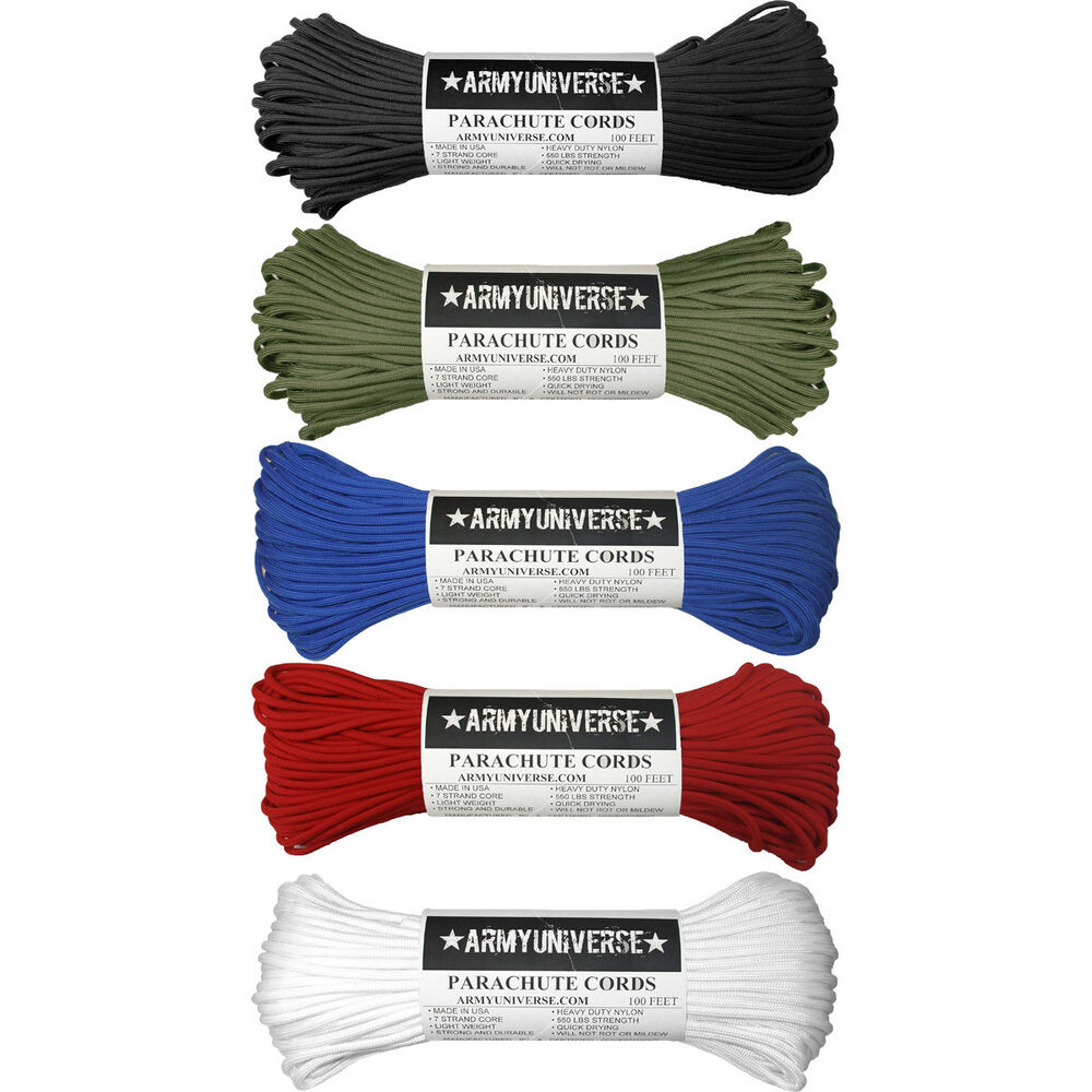 100 Feet AtParacord//Parachute Cord,7 Strand//550lb Made in USA Various Colours