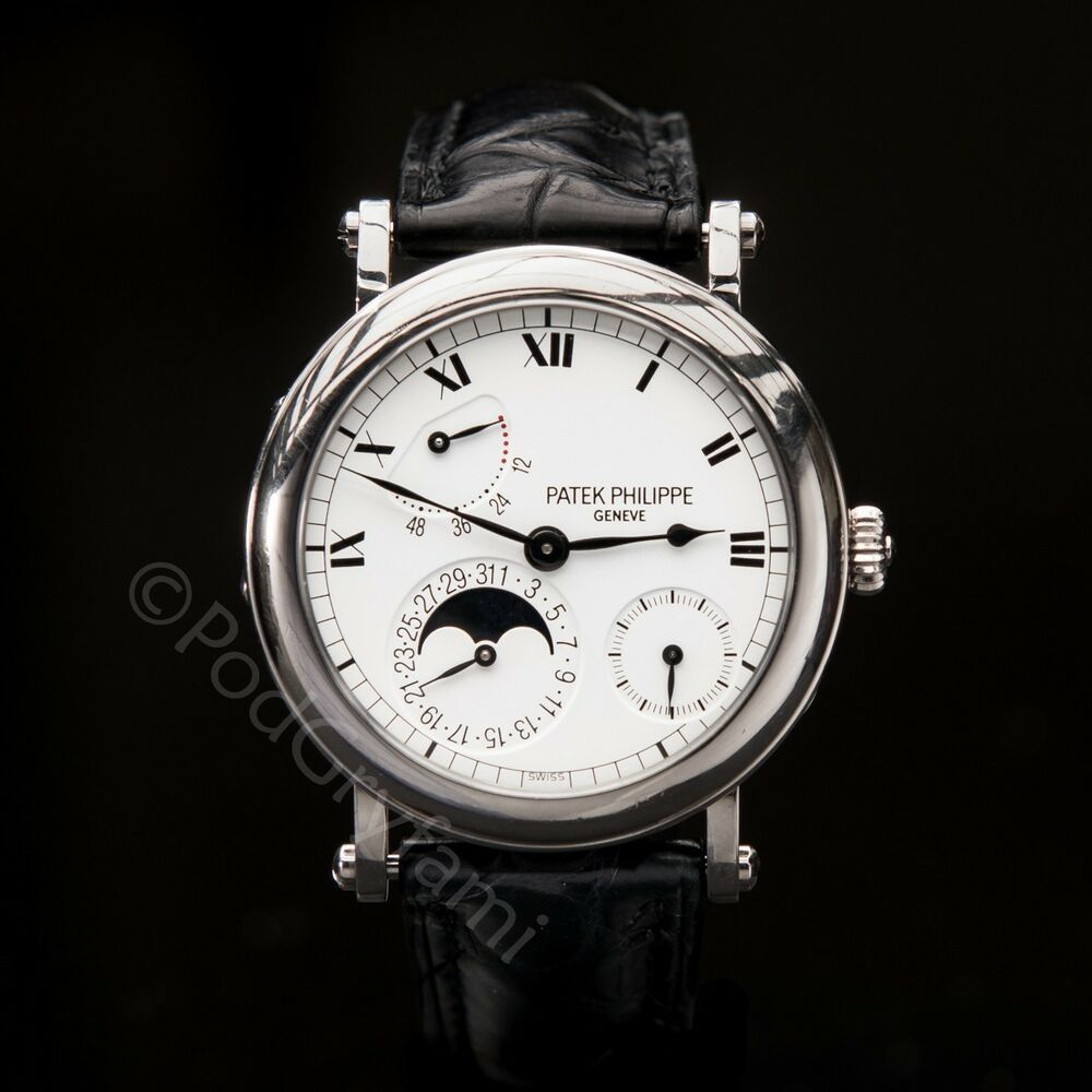 patek philippe 18k white gold officer s complicated 5054g moonphase strapwatch ebay On patek philippe moonphase