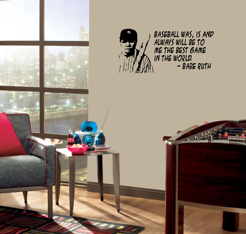 Babe Ruth WALL QUOTE Baseball the best game Vinyl decal