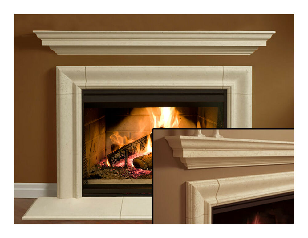 fireplace mantel mantle surround simplicity design cast stone non combustible ebay. Black Bedroom Furniture Sets. Home Design Ideas