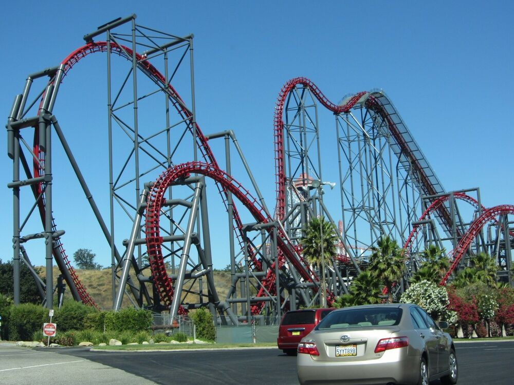 x2 roller coaster six flags magic mountain 8x10 high