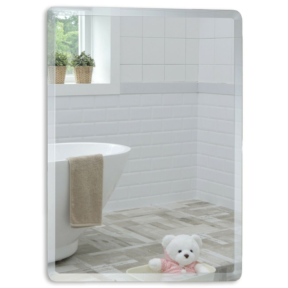 Bathroom Mirror Rectangular Great Quality With Bevel 60cmx45cm Plain Wall Mount Ebay