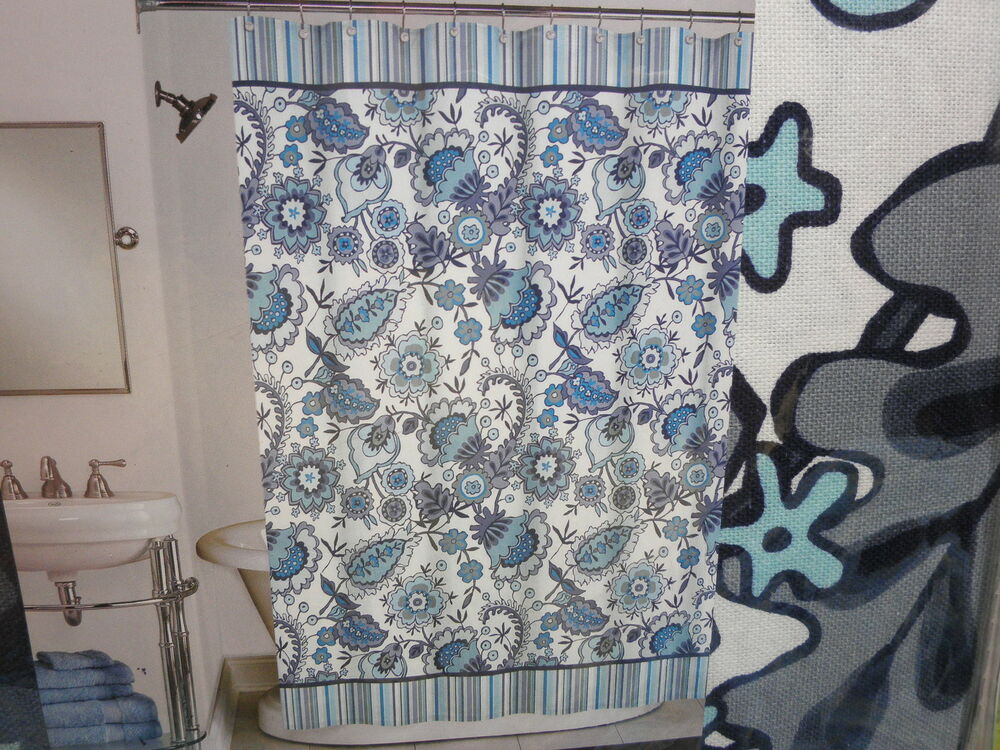 New Peri Fabric Floral Shower Curtain HENLEY Aqua Blue Grey Black Flower