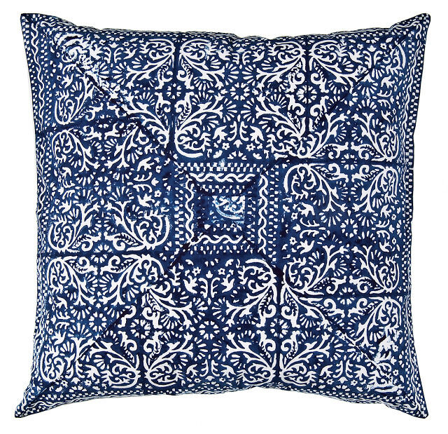 Decorative Pillows For Blue Couch : Decorative Throw Pillow Covers Sofa Couch Cushions Blue Block Print Ethnic 18