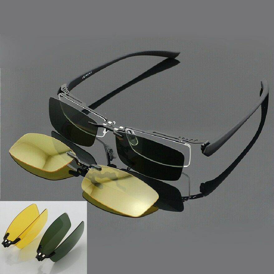 Eyeglass Frame With Magnetic Clip On Sunglasses : Magnetic Polarized Clip on half rim Eyeglasses Frame Night ...