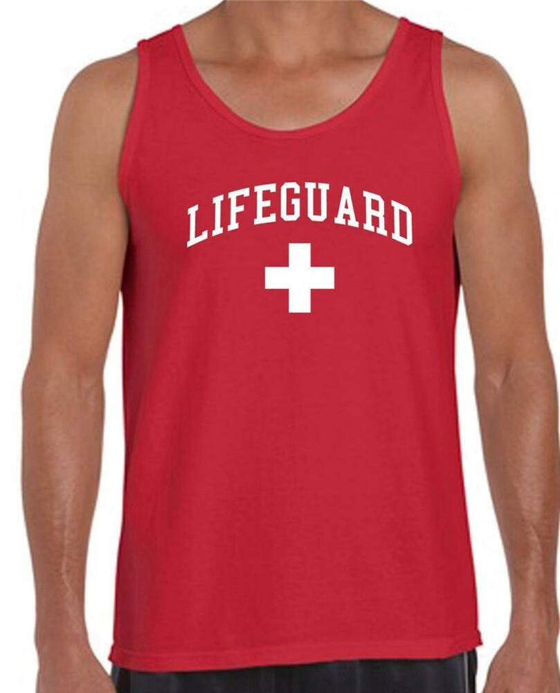 Printed men 39 s lifeguard beach mens t shirt safety pool for Beach t shirts for men
