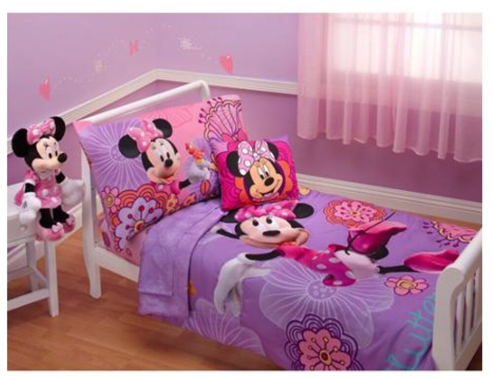4p disney minnie mouse toddler bed in a bag comforter sheets set girls room crib ebay. Black Bedroom Furniture Sets. Home Design Ideas