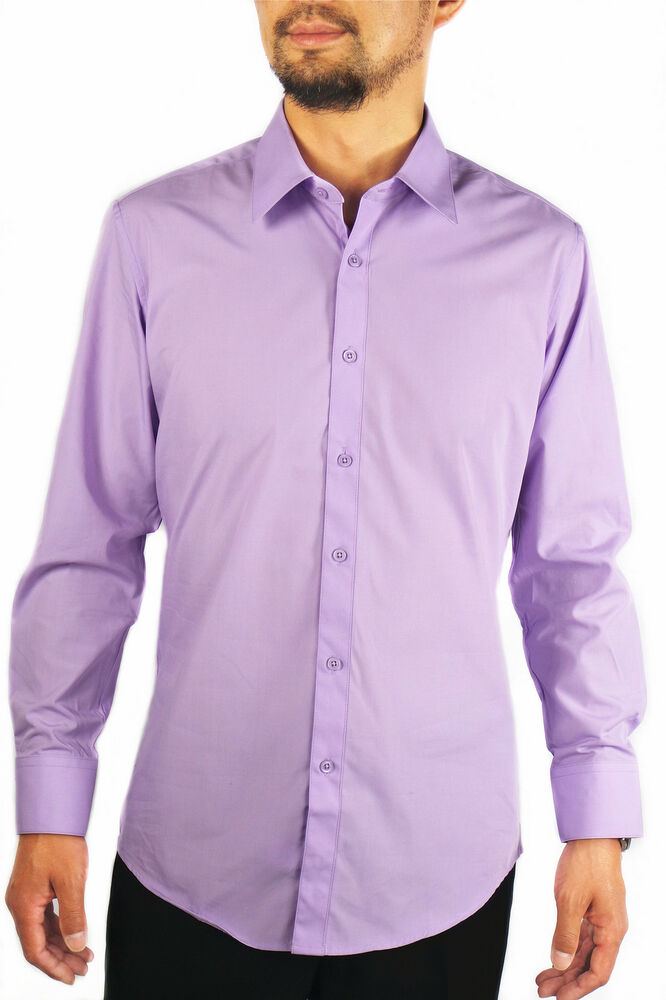 new slim fit amanti mens lavender solid dress shirt ebay