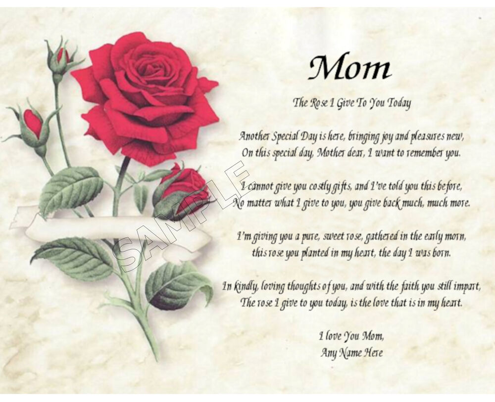 Mom Rose I Give To You Personalized Art Poem Memory