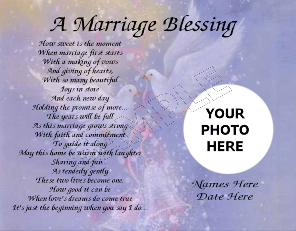 Wedding Blessings Photography: A MARRIAGE BLESSING PHOTO PERSONALIZED ART POEM MEMORY