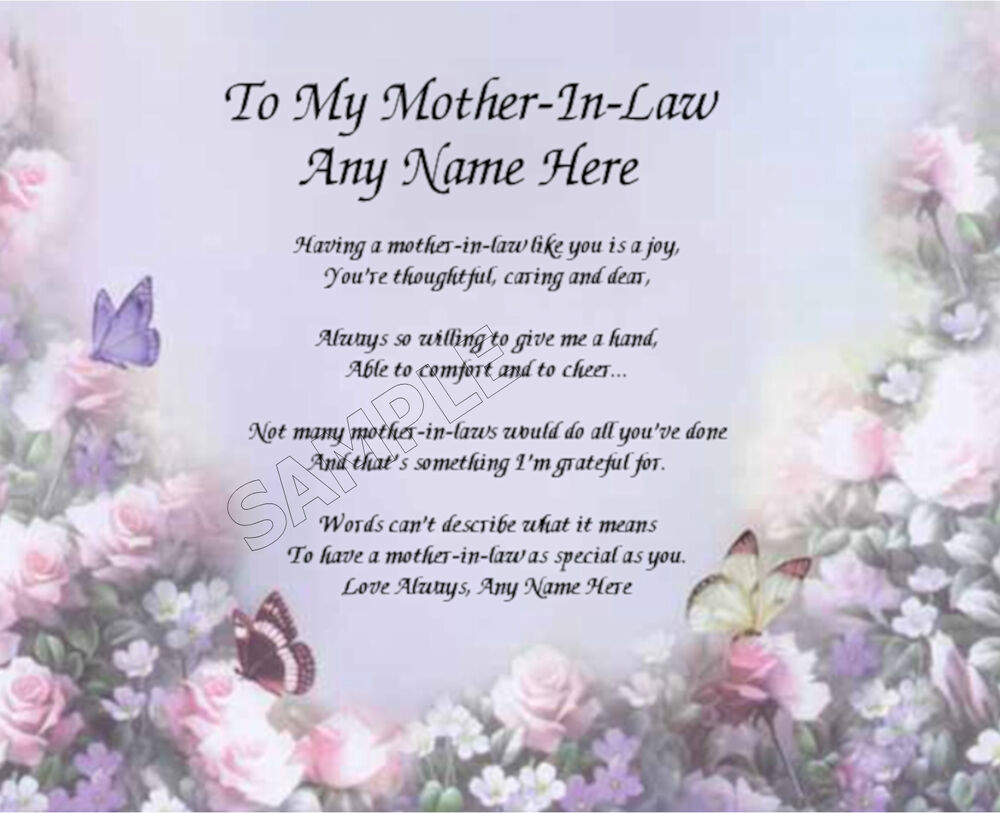 TO MY MOTHER IN LAW PERSONALIZED ART POEM MEMORY BIRTHDAY