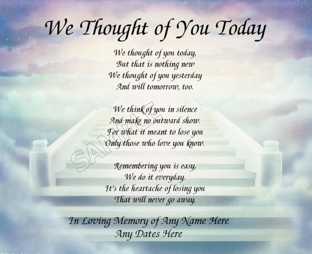 WE THOUGHT OF YOU TODAY PRAYER PERSONALIZED ART POEM ...