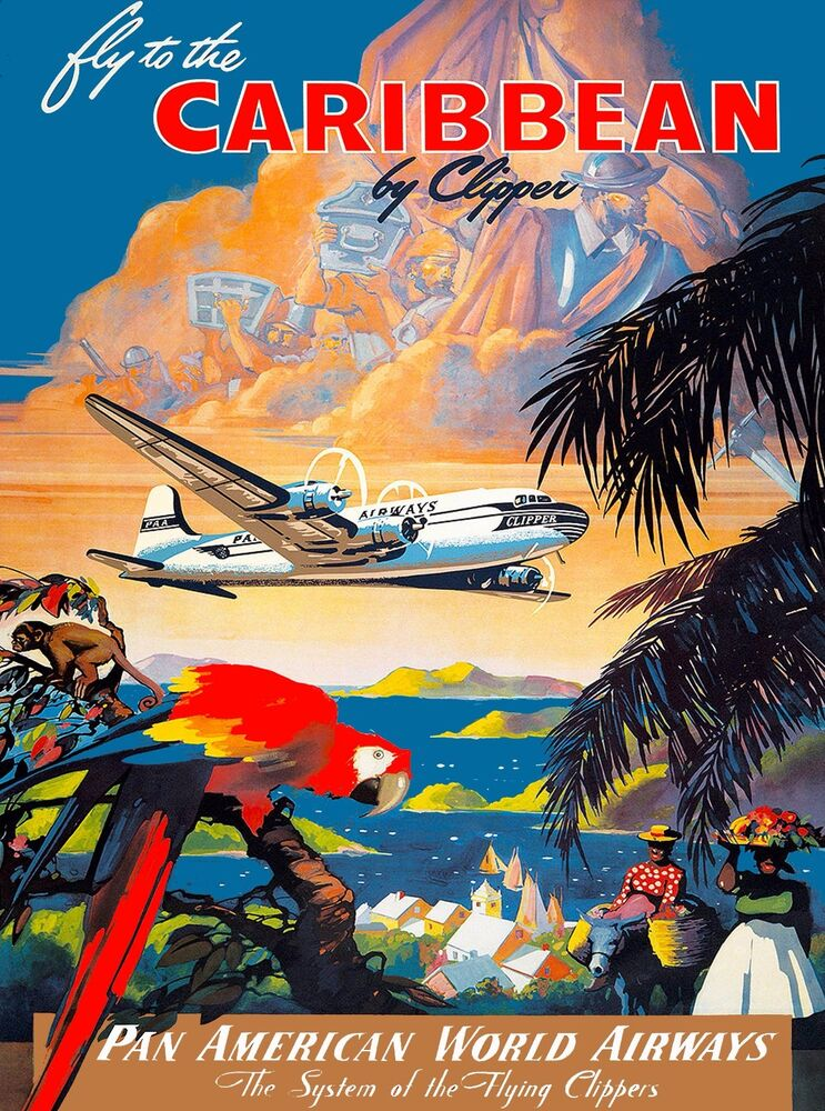 1930s fly to caribbean clipper vintage art travel poster advertisement