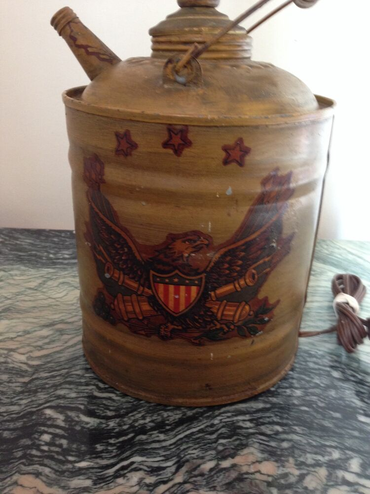 Antique Oil Can Metal Table Lamp Hand Painted Ebay